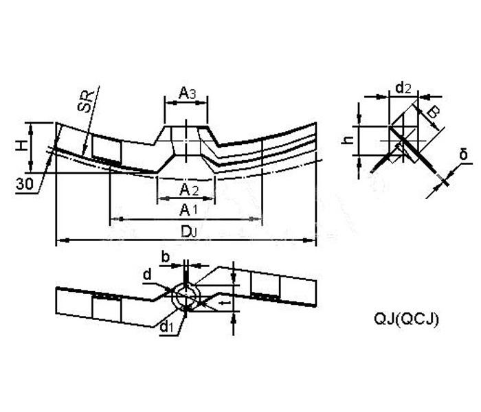曲邊斜葉槳式攪拌器